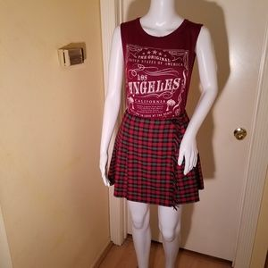 2 Pc. Outfit Plaid Kilt Mini Skirt with L.A. Tank